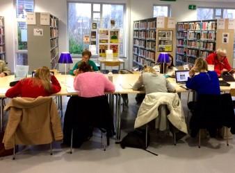 Studenten die aan het studeren zijn in de bibliotheek van Koksijde